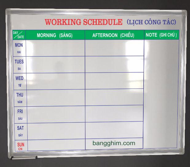 Bảng lịch công tác mẫu 1afl