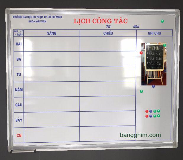 Bảng lịch công tác mẫu 1BTL