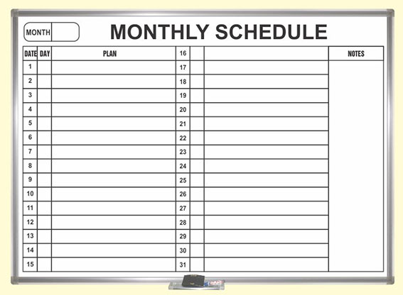 bảng mica trắng dán lịch công tác tháng