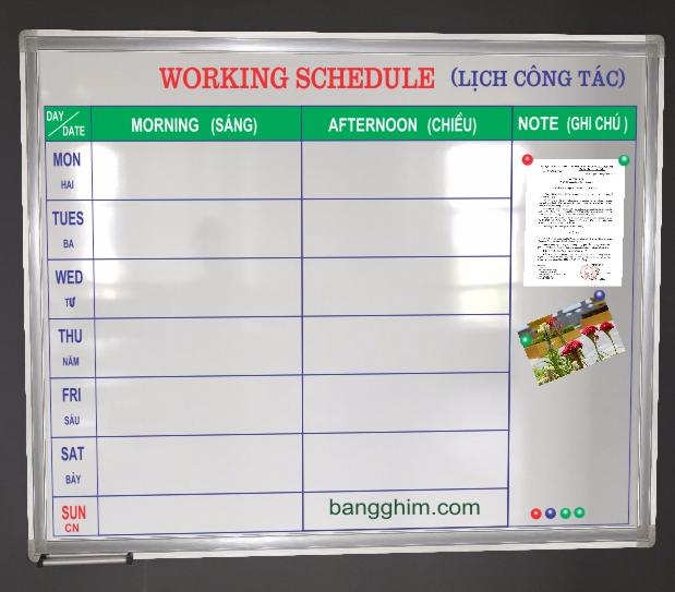 lịch công tác mẫu 1A